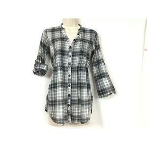 Miley Cyrux MaxAzria Plaid Tunic Blouse M